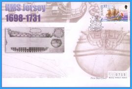 2001 HMS Jersey stamped FDI numbered Mercury First Day Cover refB19 Unsealed. No insert card.