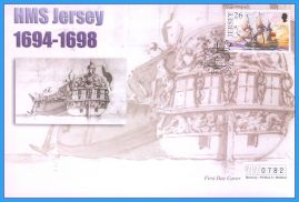 2001 HMS Jersey stamped FDI numbered Mercury First Day Cover refB20 Unsealed. No insert card.