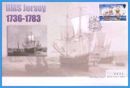 2001 HMS Jersey stamped FDI numbered Mercury First Day Cover refB21 Unsealed. No insert card.