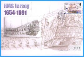 2001 HMS Jersey stamped FDI numbered Mercury First Day Cover refB22 Unsealed. No insert card.