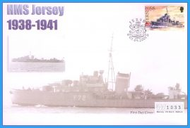 2001 HMS Jersey stamped FDI numbered Mercury First Day Cover refB23 Unsealed. No insert card.