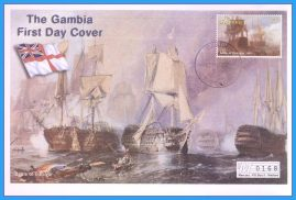 1998 Battle of Trafalgar Banjul The Gambia Numbered Mercury First Day Cover refB42 Unsealed. No insert card.