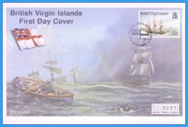 2001 British Virgin Islands HMS Eurydice  Numbered Mercury First Day Cover refB49 Unsealed. No insert card.