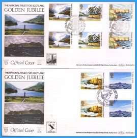 2 x 1981 OFFICIAL COVERS St Kilda and Glenfinnan Golden Jubilee National Trust Scotland Gutter Pair Stamps Benham First Day Covers rc123