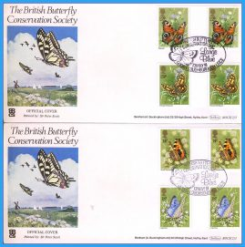2 x 1981-05-13 British Butterfly Conservation Society Official Covers Sir Peter Scott. Gutter Pair Butterflies Stamps LARGE BLUE SHS Benham First Day Covers refc120