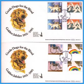 2 x 1981-03-25 WALLASEY Year of the Disabled Golden Jubilee Guide Dogs for the Blind covers. Gutter Pair Stamps Benham First Day Covers refc125