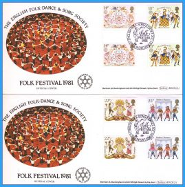 2 x 1981-02-06 Folk Festival Official Covers with Gutter Pair Folklore Stamps Benham First Day Covers refc126