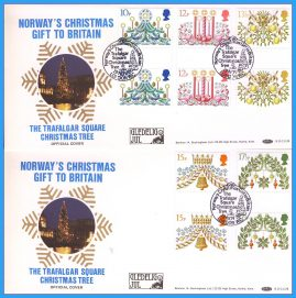 2 x 1980 OFFICIAL COVERS Trafalgar Square Christmas Tree Norways Gift to Britain. Gutter Pair Christmas Stamps First Day Covers refc127