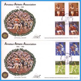 2 x 1980-10-10 OFFICIAL Amateur Athletic Association covers Posted at Crystal Palace with Sports Anniversaries Gutter Pair Stamps Benham First Day Covers refc129