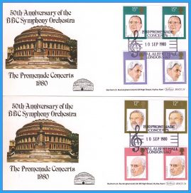 2 x 1980-09-10 Royal Albert Hall BBC Symphony Orchestra Promenade Concerts Covers with gutter pair stamps. Benham First Day Covers refc130