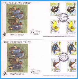 2 x 1980-01-26 Wildfowl Trust Official Covers SLIMBRIDGE Wild Birds Protection Act Gutter Pair Stamps Benham First Day Covers refc132