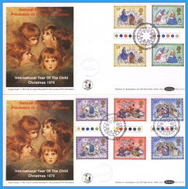 2 x 1979-11-21 Bethlehem Christmas Commemorative Flight NSPCC covers with traffic light gutter pair Stamps Benham First Day Covers refc133