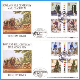 2 x 1979-08-22 Sir Rowland Hill Death Centenary Commemorative Mail Coach run with traffic light gutter pair Stamps Benham First Day Covers refc135