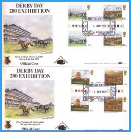 2 x 1979-06-06 Royal Academy of Arts London OFFICIAL COVER DERBY DAY 200 EXHIBITION Horse Racing Paintings traffic light gutter pair Stamps Benham First Day Covers refc138