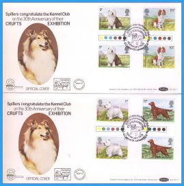 2 x 1979-02-07 OFFICIAL CRUFTS EXHIBITION COVERS carried by dog cart - with traffic light gutter pairs Dogs Stamps Benham First Day Covers refc141