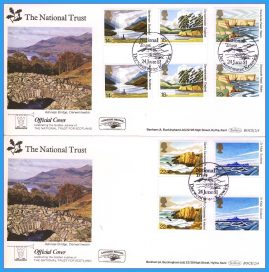 2 x 1981 National Trust Official Cover Scotland Gutter Pairs Stamps Benham First Day Covers. DERWENTWATER cancel rc146