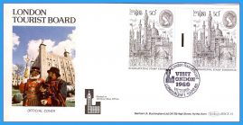 1980 London Tourist Board Official Cover Visit London Victoria GUTTER PAIR STAMPS fdc rc152