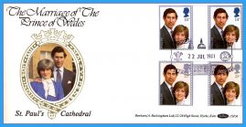 1981 Gutter Pair Stamps Cover St.Paul's Catherdral Royal Wedding BENHAM FDC rc153