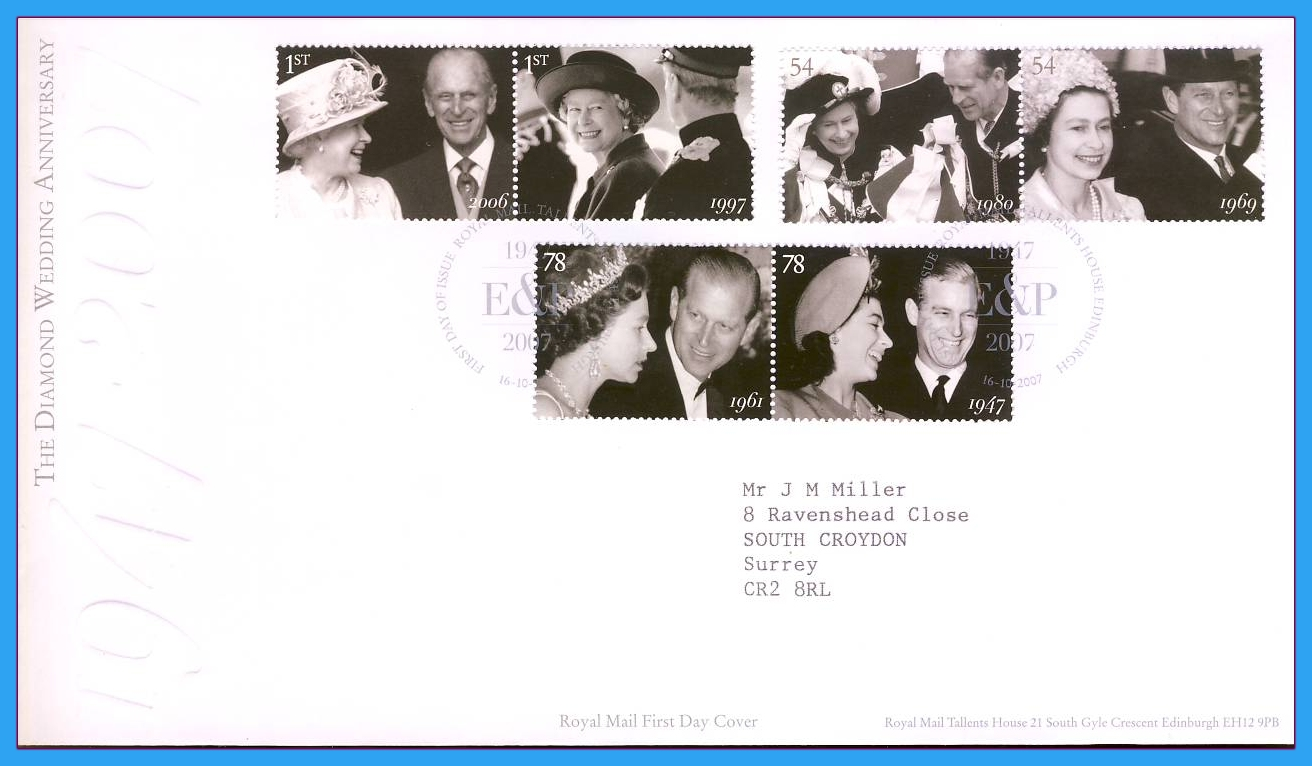 2007-10-16 Royal Diamond Wedding First Day Cover Tallents House Edinburgh refc59