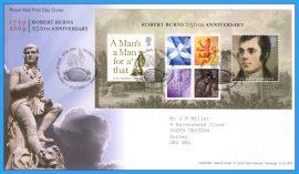 2009-01-22 Robert Burns Anniversary Mini Sheet Stamps First Day Cover refc85