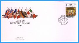 1984-06-05 London Economic Summit  Stamps FDC with House of Commons CDS refcd15