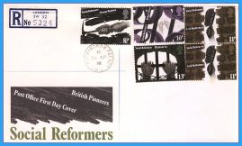 1976-04-28 Pioneers and Social Reformers Stamps Post Office FDC with Buckingham Palace CDS sent Registered Post refcd20
