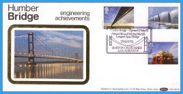 1983-05-25 Engineering Achievements Stamps Benham Silk BLS3 FDC with Humber Bridge shs refcd29