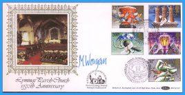 1983-11-16 Christmas Stamps FDC signed by Rev Maurice Worgan Lyminge Parish Church. Lyminge Folkstone Kent shs Benham Silk BOCS(2)23 rcd39