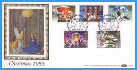 1983-11-16 Christmas Stamps FDC NASARETH SHS Benham Silk BLS7 refcd43