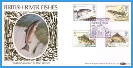 1983-01-26 British River Fishes Stamps BLS(2)1 Benham Silk FDC  SALMON Coleraine Co.Londonderry shs rcd78