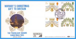 1980-11-19 Christmas Gutter Stamps First Day Cover OFFICIAL NORWAY'S Gift to Britain Trafalgar Square Christmas Tree rcd117