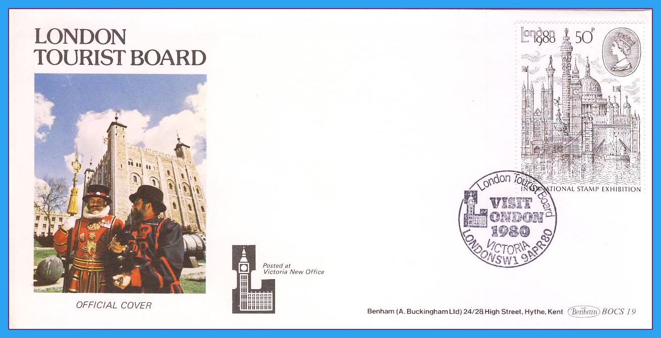 1980-04-09 London 50p 1980 Stampex Stamps OFFICIAL LONDON TOURIST BOARD FDC rcd143