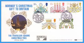 1980-11-19 Christmas Stamps FDC OFFICIAL COVER Norway's Gift to Britain Trafalgar Square Tree rcd 144