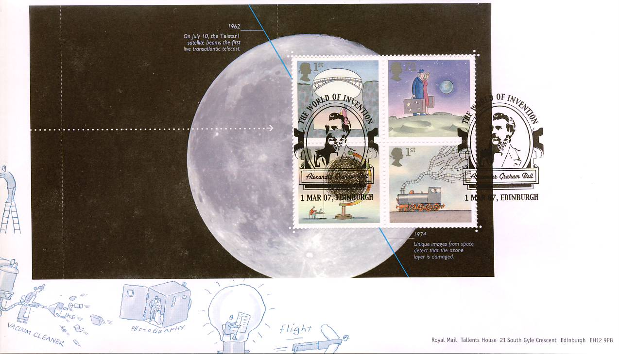 2007 World of Invention Stamps M/S Alexander Graham Bell Royal Mail First Day Cover - sealed - with insert card. Very Good Condition. rcd78