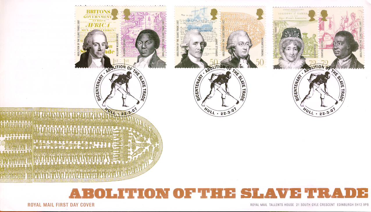 2007-03-22 Abolition of the Slave Trade Stamps HULL Royal Mail FDC with insert card. Very Good Condition. rcd80