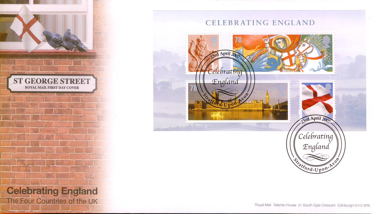 2007-04-23 Celebrating England St George Street Stratford-upon-Avon minisheet stamps  Royal Mail FDC with insert card. Very Good Condition. rcd81