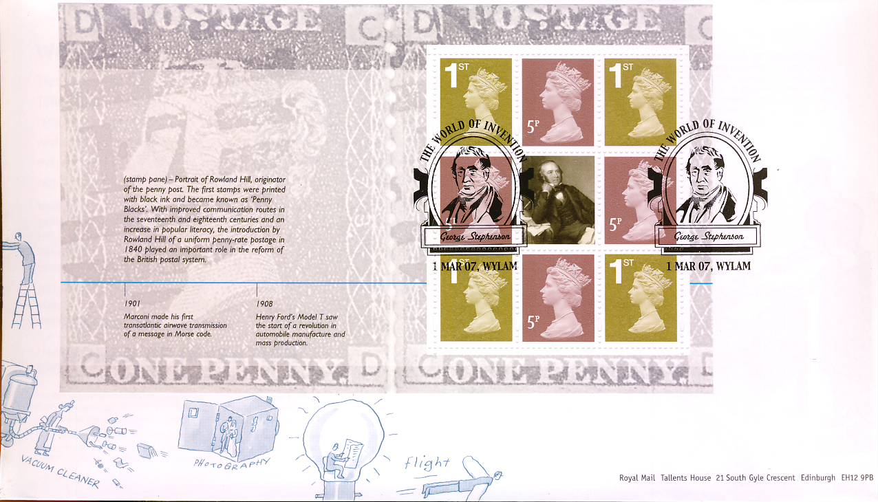 2007-03-01 World of Invention Stamps Booklet Pane minisheet with shs WYLAM George Stephenson FDC - sealed with insert card. Very Good Condition. rcd86