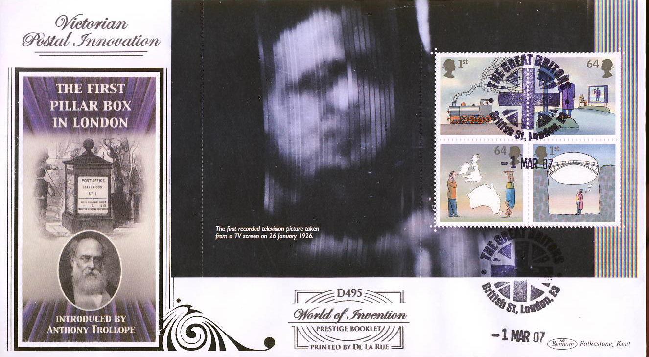 2007-03-01 World of Invention Stamps Prestige Booklet m/s LTD ED Benham FDC Great Britons British Street London shs rcd89