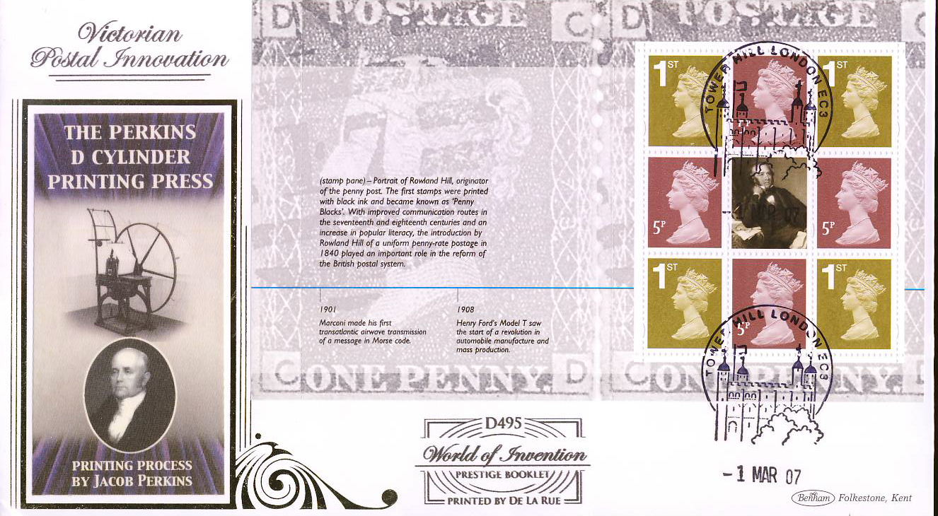 2007-03-01 World of Invention Stamps LTD ED D495 Prestige Booklet M/S BENHAM FDC Tower Hill London EC3 shs rcd93