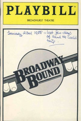 Broadway Bound PLAYBILL 1988 Broadhurst Theatre Programme refb101081 Pre-owned Programme in Good Condition with some writing on cover. Measures approx 15cm x 21cm