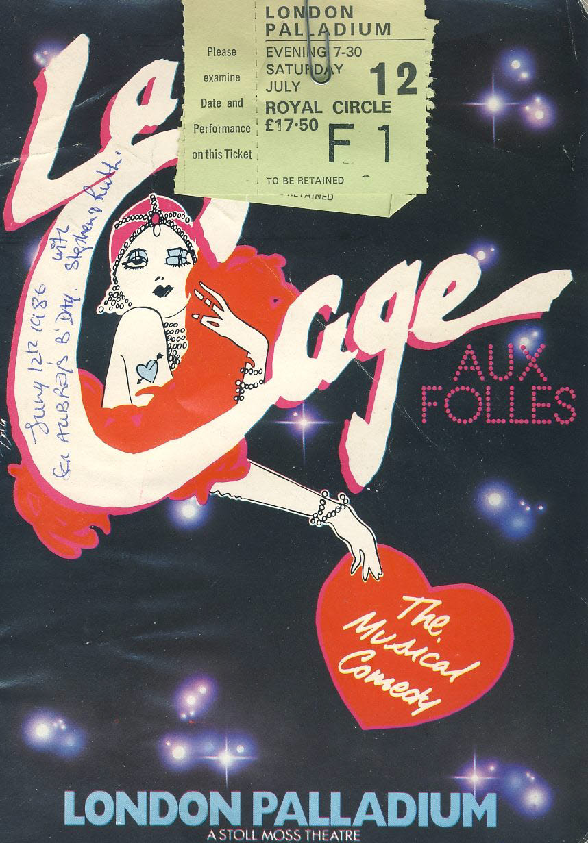 La Cage Aux Folles LONDON PALLADIUM 1986 Theatre Programme with ticket stubs refb101090 Pre-owned Programme in Fair Condition. Measures approx 15cm x 21cm