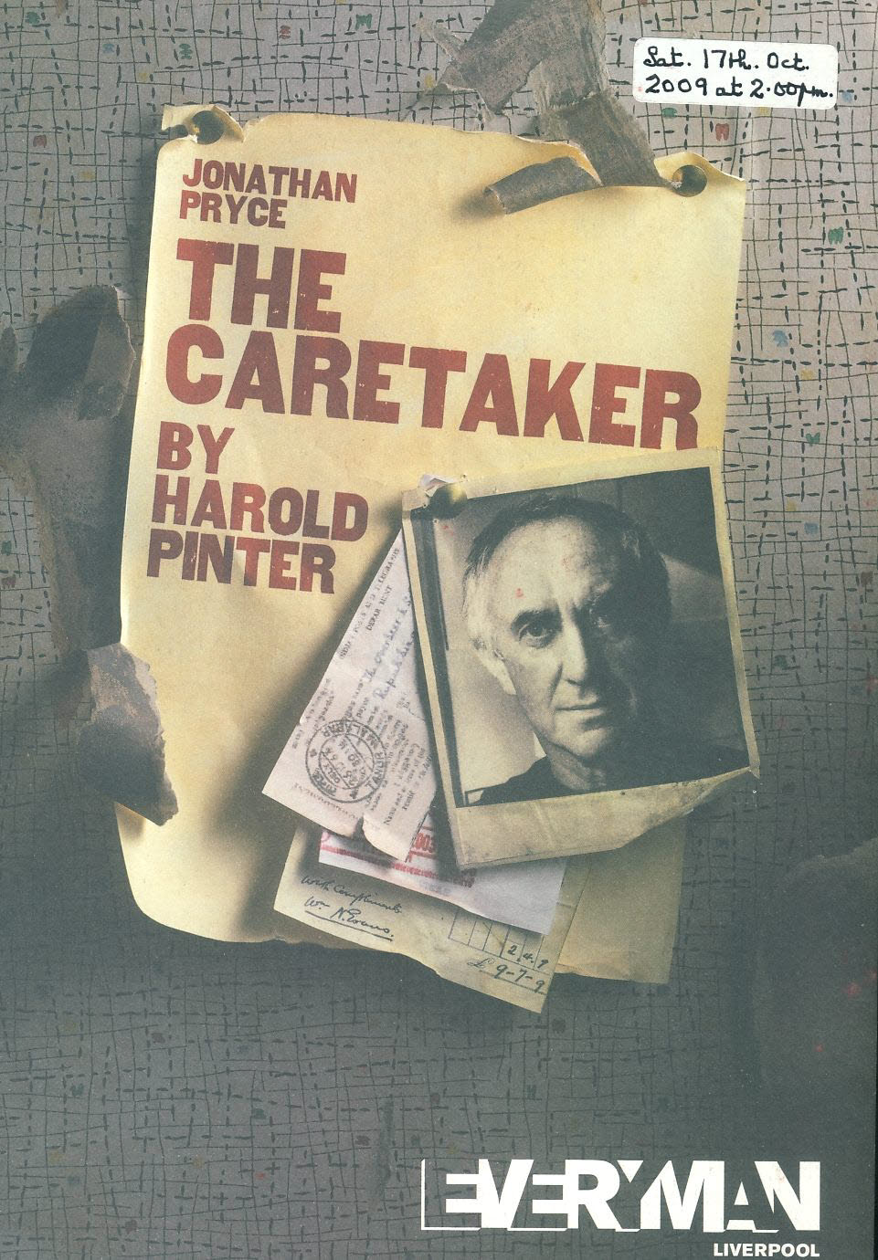 The Caretaker by Harold Pinter JONATHAN PRYCE 2009 Everyman Theatre Programme refb1512 Measures approx 17cm x 24cm. Date label on cover.