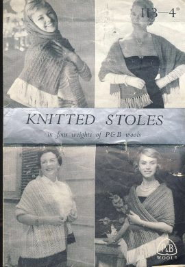 RARE: Vintage knitting pattern as shown in photograph. In creased condition with marks and rips. ref052
