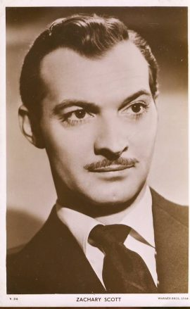 Zachary Scott Warner Bros Star photo vintage postcard. Creases to corners. An original postcard in good condition for its age. Please see large photo and description for details. ref138