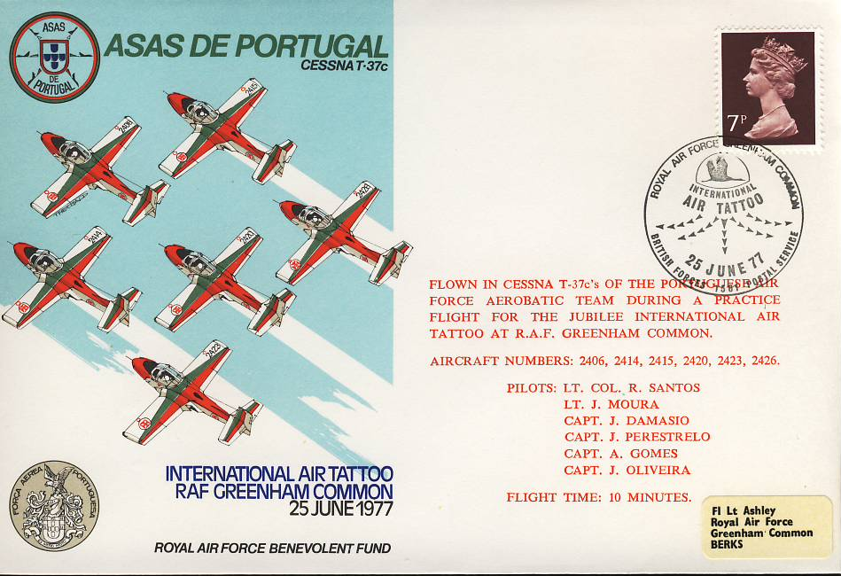 1977 ASAS DE PORTUGAL RAF Greenham Common flown stamp cover Air Tatoo BFPO Cessna refF100Unsealed – with insert. Please see full description and photo for condition report.