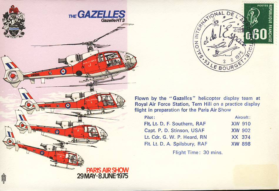 1975 GAZELLES helicopter Paris Air Show RAF flown stamp cover refF101Unsealed – with insert. Please see full description and photo for condition report.