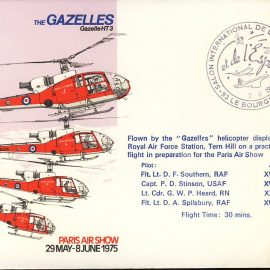 1975 Paris Air Show GAZELLES helicopter RAF flown stamp cover refF103Unsealed – with insert. Please see full description and photo for condition report.