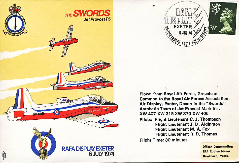 1974 SWORDS Jet Provost T5 RAFA Exeter flown stamp cover refF105Unsealed – with insert. Please see full description and photo for condition report.