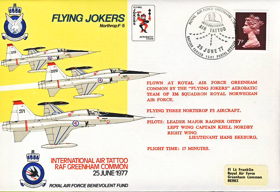 1977 Flying Jokers Northrop F5 Greenham Common RAF flown stamp cover refF107 Unsealed with insert. Please see full description and photo for condition report.