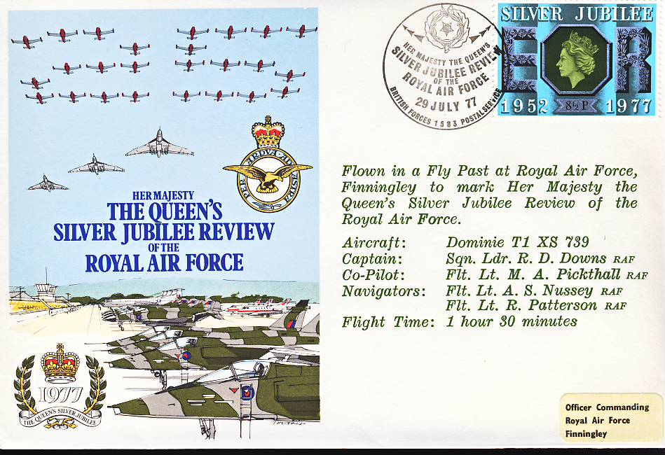 1977 Queen's Silver Jublilee Review RAF flown stamp cover BFPO Finningley refF108 Unsealed with insert. Please see full description and photo for condition report.